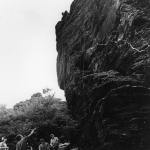 4-H club members rappelling down a rock face in Catawba County, North Carolina