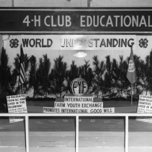 4-H exhibit demonstrating North Carolina's participation in the International Farm Youth Exchange Program at the Alabama State Fair