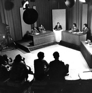 Students at WUNC-TV for a campus election debate