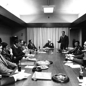 Liaison meeting of the administration, the faculty senate, and the student government (including Eric N. Moore), 1968-1969