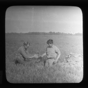 I. V. D. Shunk and D. B. Anderson taking soil samples at Big Savannah