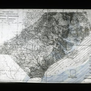 Map of surficial formations of North Carolina geology