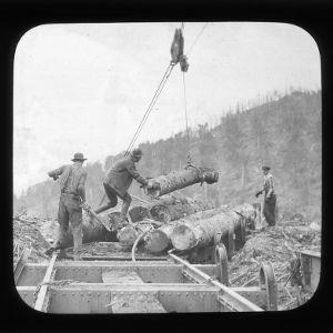 Loading logs onto rail car