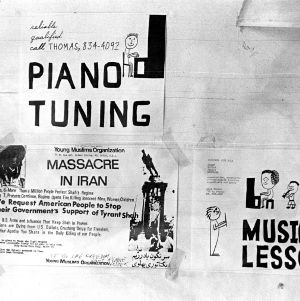 Message board advertisements for the Young Muslim Organization, music lessons, and piano tuning