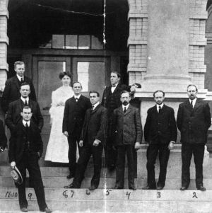 Agricultural faculty posing in front of Patterson Hall, North Carolina College of Agriculture and Mechanic Arts, circa 1904-1905