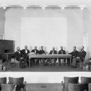 Staff members of the experiment station who acted the parts of the original committee that sought the establishment of the station, North Carolina State College