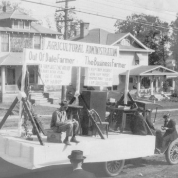 Agricultural administration float in the agricultural fair parade, 1925