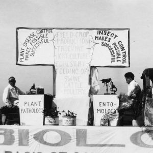 North Carolina State College's biology department float, agricultural students fair, Raleigh, N.C.