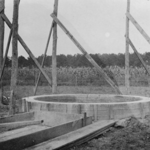 Foundation for a stave silo on the farm of M. W. Jackson near Edenton, North Carolina, September 28, 1926