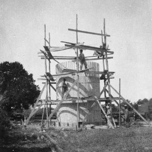 Stave silo being built on dairy farm of M. W. Jackson, Edenton, North Carolina, September 28, 1926