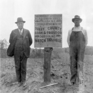 Sign for soil improvement demonstration in Surry County working with the North Carolina agricultural extension service, May 1927