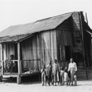 "House of an African American family in a ""poor-land"" section of Bladen County, June 1936"