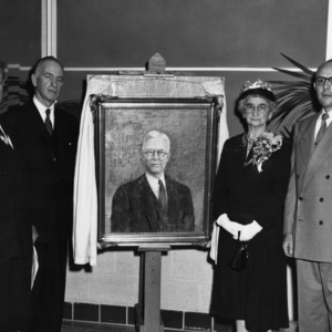 Unveiling of portrait painting of Charles Burgess Williams at dedication ceremony