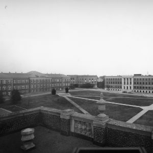 Bird's-eye view of three Ricks, Patterson, and Withers Halls