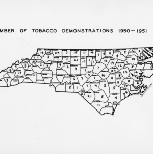 Map of North Carolina showing the number of tobacco demonstrations per county in 1950-1951