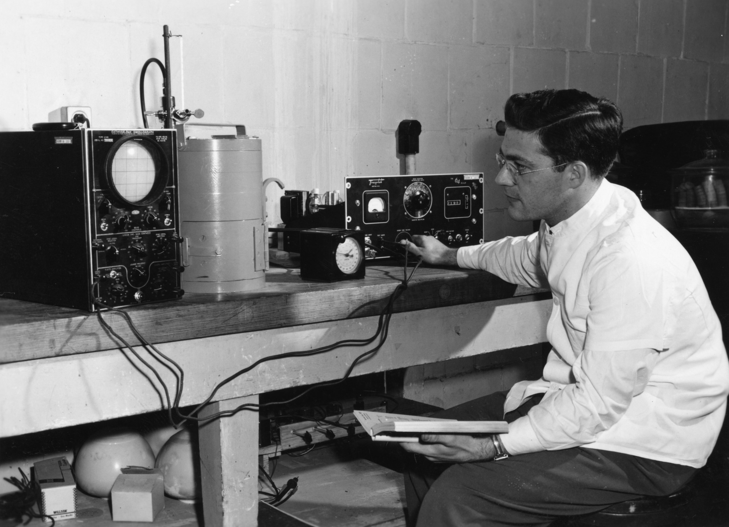 Unidentified man in a tobacco lab