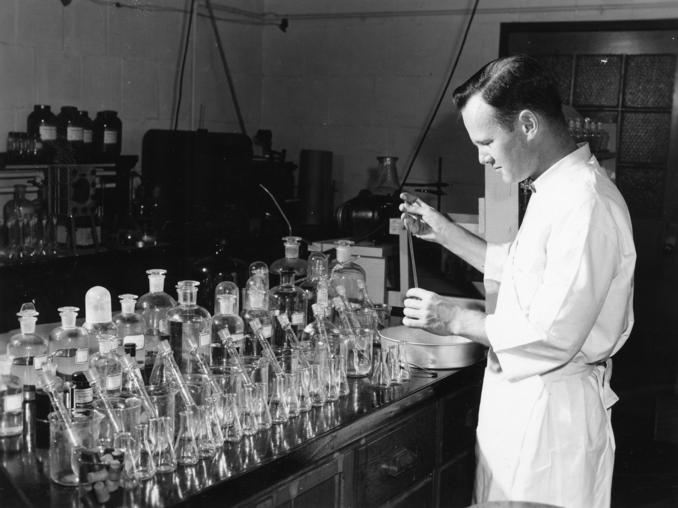 Unidentified man working in a laboratory