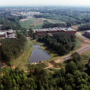 Aerial view of the School of Textiles on NC State Centennial Campus