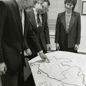 Claude McKinney, John Kanipe, and Beth McGee at Centennial Campus planning meeting