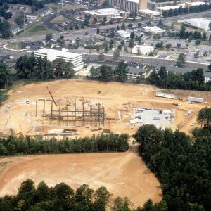 Aerial view of Centennial Campus construction