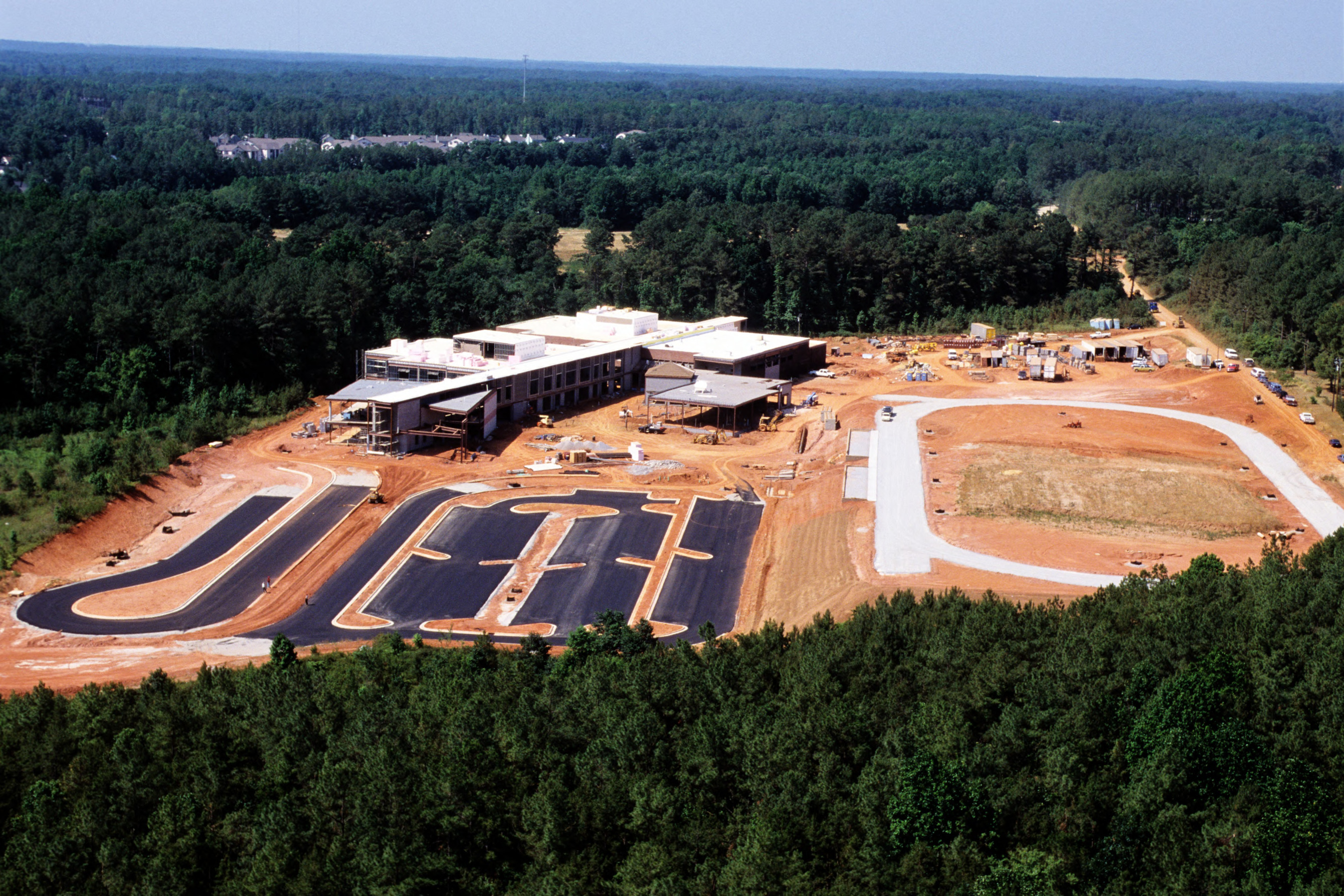 Aerial view of Middle School site construction, Centennial Campus, North Carolina State