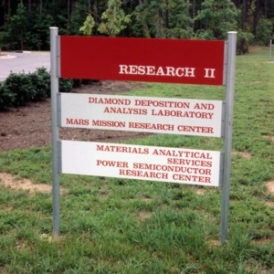 Research II Building signage on Centennial Campus