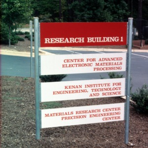 Research Building I signage on Centennial Campus