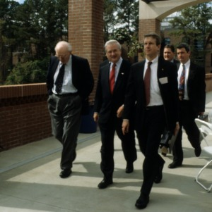 Ten year celebration, James Hunt walking in, Centennial Campus, North Carolina State