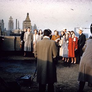 1951 4-H Congress attendees and Chicago skyline