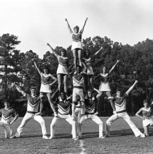N. C. State cheerleader pyramid