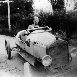 Guy Mendenhall driving car he built