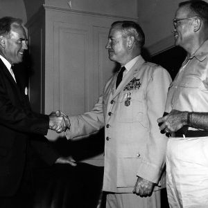 Chancellor John T. Caldwell with Col. Robert C. Paul and Col. James D. Howder