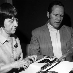 Harold E. Schlichting and Mary Southworth Schlichting working on document together