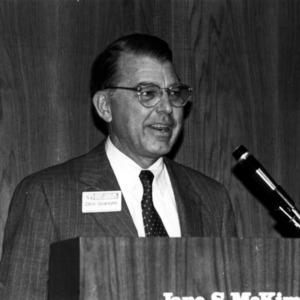 C. Dixon Spangler speaking at the Jane S. McKimmon Center