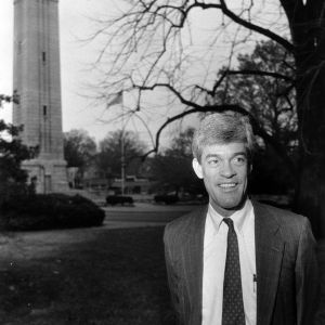 Tom Stafford in front of Memorial Bell Tower