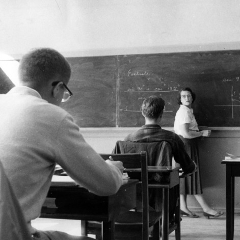 Woman teaching a math class