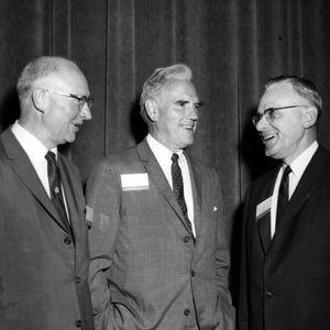 Dean H. Brooks James, Chancellor John T. Caldwell, and Dean Earl L. Butz at closing of Carolina Agribusiness Caravan