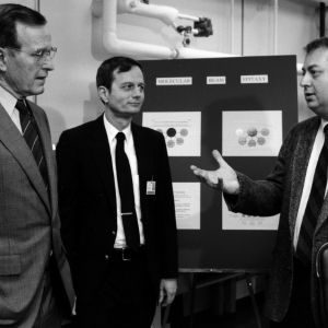 President George Bush with James Cook and Jan Schetzina in Schetzina's lab