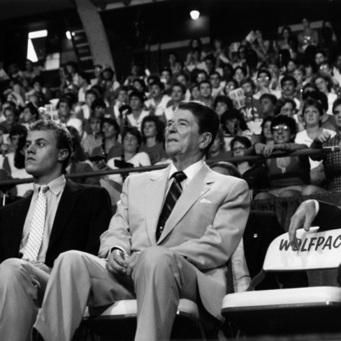 Jay Everette, NC State University Student Body President, and President Reagan in Reynolds Coliseum during the President's 1985 visit to campus