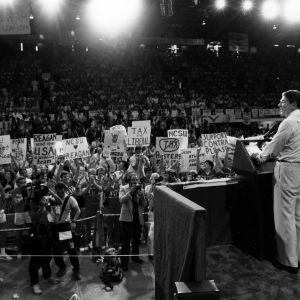 President Ronald Reagan giving a speech in Reynolds Coliseum