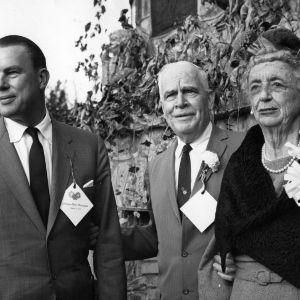 Betsy Penn, her nephew and Governor Luther Hodges at Chinqua Penn event