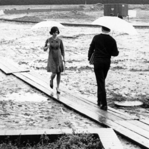 Students walking on boards in the rain
