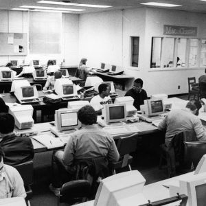 Students working in Unnamed Building computer room