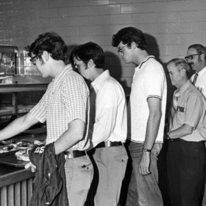 Students in line for lunch in the student center