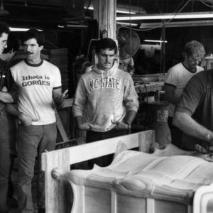 Students working in carpentry shop