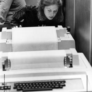 Student on a typewriter