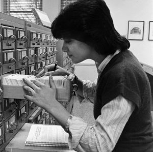 Student using the card catalog