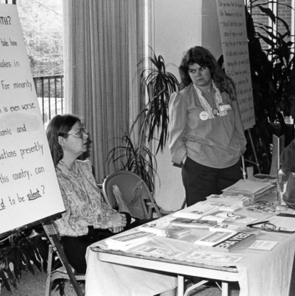 Women at demonstration table for women rights