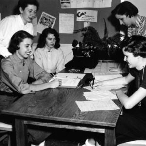 Girls working on homework
