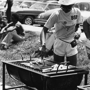 Students grilling food